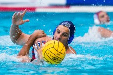 Jug Dubrovnik (white cap) vs Szolnoki (blue cap) 7 ALEKSIC Milan LEN Champions League Final Eight 2018 07/06/2018 Piscina Sciorba Genova Italy Photo © G.Scala/Deepbluemedia/inside