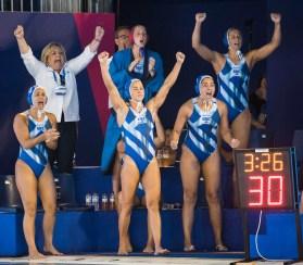 Team Greece ITA - GRE Italy (white caps) vs. Greece (blue caps) Barcelona 15/07/18 Piscines Bernat Picornell Women qualification 33rd LEN European Water Polo Championships - Barcelona 2018 Photo Giorgio Scala/Deepbluemedia/Insidefoto