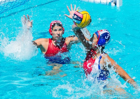 1 RATKOVIC Alexandra CRO (Red Cap), 3 BURALI Dilara TUR CRO - TUR Croatia (white caps) vs Turkey (blue caps) Women Barcelona 23/07/18 Piscines Bernat Picornell Final 11th-12th place 33rd LEN European Water Polo Championships - Barcelona 2018 Photo Giorgio Scala/Deepbluemedia/Insidefoto