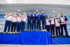 Podium Team Israel ISR Gold Medal Russian Federation RUS Silver Medal Team Great Britain GBR Bronze Medal 4X200 Freestyle Men Relay Finals LEN 45th European Junior Swimming Championships Helsinki, Finland MŠkelŠnrinne Swimming Centre Day03 06-07-2018 Photo Andrea Masini/Deepbluemedia/Insidefoto