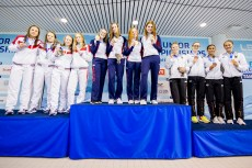 Podium Team Great Britain GBR Gold Medal Russian Federation RUS Silver Medal Team Germany GER Bronze Medal 4X100 Mixed Women Relay Finals LEN 45th European Junior Swimming Championships Helsinki, Finland MŠkelŠnrinne Swimming Centre Day03 06-07-2018 Photo Andrea Masini/Deepbluemedia/Insidefoto