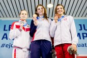 Podium ANDERSON Freya GBR Gold Medal KLEVANOVICH Elizaveta RUS Silver Medal FIEDKIEWICZ Kornelia POL Bronze Medal 50 Freestyle Women Finals LEN 45th European Junior Swimming Championships Helsinki, Finland MŠkelŠnrinne Swimming Centre Day04 07-07-2018 Photo Andrea Masini/Deepbluemedia/Insidefoto