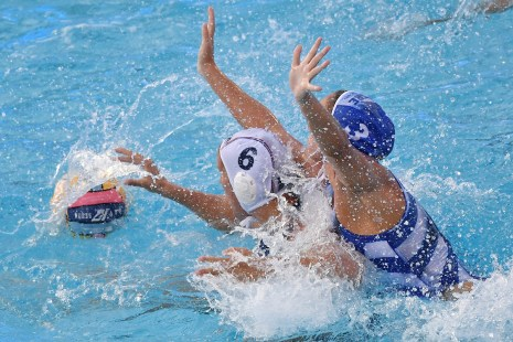 MAHIEU Geraldine (C) FRA, DIAMANTOPOULOU Vasiliki GRe FRA - GRE France (white caps) vs. GREECE (blue caps) Barcelona 14/07/2018 Piscines Bernat Picornell Women qualification 33rd LEN European Water Polo Championships - Barcelona 2018 Photo Andrea Staccioli/Deepbluemedia/Insidefoto