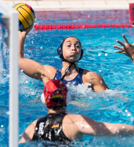 12 DAULE Audrey FRA GER - FRA Germany (white caps) vs France (blue caps) Final 7th-8th Place Barcelona 27/07/18 Piscines Bernat Picornell 33rd LEN European Water Polo Championships - Barcelona 2018 Photo Giorgio Scala/Deepbluemedia/Insidefoto