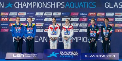 TEAM UKRAINE Silver Medal TEAM RUSSIA Gold Medal TEAM ITALY Bronze Medal Duet Tech Podium Medal Ceremony Glasgow 03/08/18 Synchronised Swimming Scotstoun Sports Campus LEN European Aquatics Championships 2018 European Championships 2018 Photo Pasquale Mesiano/ Deepbluemedia /Insidefoto