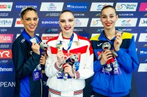 7 ITA ITALY CERRUTI Linda Silver Medal 11 RUS RUSSIA KOLESNICHENKO Svetlana Gold Medal 12 UKR UKRAINE YAKHNO Yelyzaveta Bronze Medal Medal Ceremony DUET FREE ROUTINE PODIUM Glasgow 07/08/18 Synchronised Swimming Scotstoun Sports Campus LEN European Aquatics Championships 2018 European Championships 2018 Photo Pasquale Mesiano/ Deepbluemedia /Insidefoto