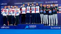 Team GREAT BRITAIN Gold Medal JARVIS Calum SCOTT Duncan W DEAN Thomas GUY James Team RUSSIA Silver Medal VEKOVISHCHEV Mikhail MALYUTIN Martin IZOTOV Danila DOVGALYUK Mikhail Team ITALY Bronze Medal PROIETTI COLONNA Alessio MEGLI Filippo CIAMPI Matteo ZUIN Mattia 4x200m Freestyle Relay Men Final Glasgow 05/08/18 Swimming Tollcross International Swimming Centre LEN European Aquatics Championships 2018 European Championships 2018 Photo Andrea Staccioli/ Deepbluemedia /Insidefoto