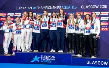 Team GREAT BRITAIN Gold Medal FAULKNEREleanor GREENSLADEKathryn HIBBOTTHolly ANDERSONFreya Team RUSSIA Silver Medal SALAMATINAValeriia EGOROVAAnna OPENYSHEVAArina GUZHENKOVAAnastasia Team GERMANY Bronze Medal FOOSReva GOSEIsabel Marie KOEHLERSarah BRUHNAnnika 4x200m Freestyle Relay Women Glasgow 07/08/2018 Swimming Tollcross International Swimming Centre LEN European Aquatics Championships 2018 European Championships 2018 Photo Giorgio Scala/ Deepbluemedia /Insidefoto