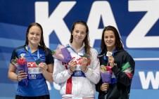 50 backstroke women medal ceremony LEN European Swimming Junior Championships 2019 Aquatic Palace Kazan Day 3 05/07/2019 Photo G.Scala/Deepbluemedia/Insidefoto
