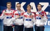 russia 4x200 freestyle relay men medal ceremony LEN European Swimming Junior Championships 2019 Aquatic Palace Kazan Day 3 05/07/2019 Photo G.Scala/Deepbluemedia/Insidefoto