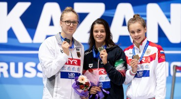 (L to R) GOSE Isabel Marie GER, COCCONCELLI Costanza ITA, NIKONOVA Ekaterina RUS 50 freestyle women Medal Ceremony LEN European Swimming Junior Championships 2019 Aquatic Palace Kazan Day 4 06/07/2019 Photo G.Scala/Deepbluemedia/Insidefoto