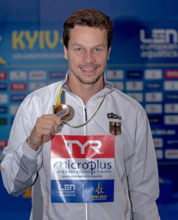 HAUSDING PATRICK GER Germany Gold Medal Kyiv, Ukraine UKR 07/08/2019 Diving 1 meter springboard men podium Len European Diving Championships 2019 Sport Arena Liko Kyiv, Ukraine Photo © Giorgio Scala / Deepbluemedia / Insidefoto