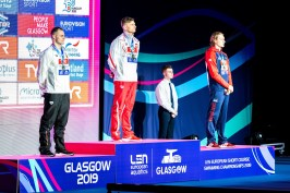 KAWECKI Radoslaw Poland POL Gold Medal DIENER Christian Germany GER Silver Medal GREENBANK Luke Great Britain GBR Bronze Medal 200 backstroke men Final Glasgow 04/12/2019 XX LEN European Short Course Swimming Championships 2019 Tollcross International Swimming Centre Photo Giorgio Scala / Deepbluemedia / Insidefoto