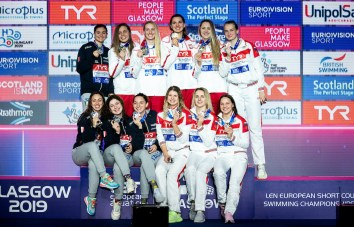 Team Poland Gold Medal Team Italy Silver Medal Team Russia Bronze Medal 4x50 medley relay women Final Glasgow 08/12/2019 XX LEN European Short Course Swimming Championships 2019 Tollcross International Swimming Centre Photo Giorgio Scala / Deepbluemedia / Insidefoto