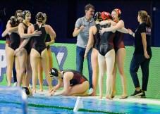 Team GER Germany Celebrate Budapest 21/01/2020 Duna Arena SRB - Serbia (white caps) Vs. GER - Germany (blue caps) Women XXXIV LEN European Water Polo Championships 2020 Photo ©Pasquale Mesiano / Deepbluemedia / Insidefoto