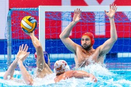 1 ESP LOPEZ PINEDO Daniel Spain Budapest 24/01/2020 Duna Arena Spain (white caps) Vs. Croatia (blue caps) Men Semifinal XXXIV LEN European Water Polo Championships 2020 Photo ©Giorgio Scala / Deepbluemedia / Insidefoto