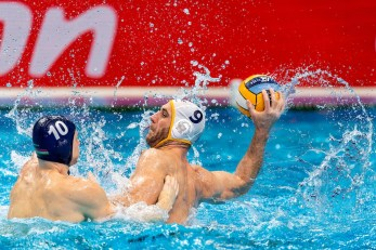 10 HUN VARGA Denes Andor Hungary, 9 MNE IVOVIC Aleksandar Montenegro Budapest 24/01/2020 Duna Arena Montenegro (white caps) Vs. Hungary (blue caps) Men Semifinal XXXIV LEN European Water Polo Championships 2020 Photo ©Giorgio Scala / Deepbluemedia / Insidefoto