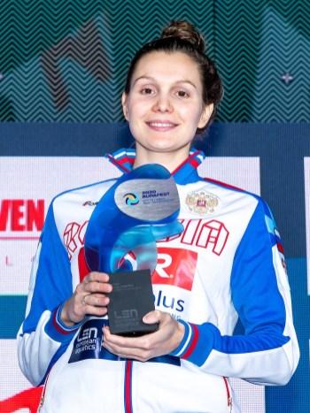 USTIUKHINA Anna Russia Best Goalkeeper Budapest 25/01/2020 Duna Arena Women Medal Ceremony XXXIV LEN European Water Polo Championships 2020 Photo ©Giorgio Scala / Deepbluemedia / Insidefoto