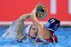 11 RUS IVANOVA Evgeniya Russia, 11 SRB MILICEVIC Ana Serbia Budapest 13/01/2020 Duna Arena RUSSIA (white caps) Vs. SERBIA (blue caps) XXXIV LEN European Water Polo Championships 2020 Photo © Andrea Staccioli / Deepbluemedia / Insidefoto