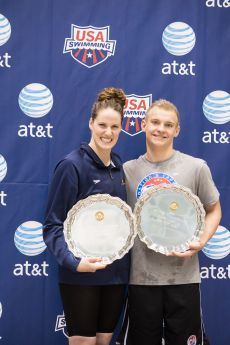 Knoxville, TN - December 7, 2013: Missy Franklin and Andrew Seliskar receive the High Point Award during the 2013 AT&T Swimming Winter National Championships on December 7, 2013 in Knoxville, Tennessee at the Allan Jones Aquatic Center. Photo By Matthew DeMaria/Tennessee Athletics