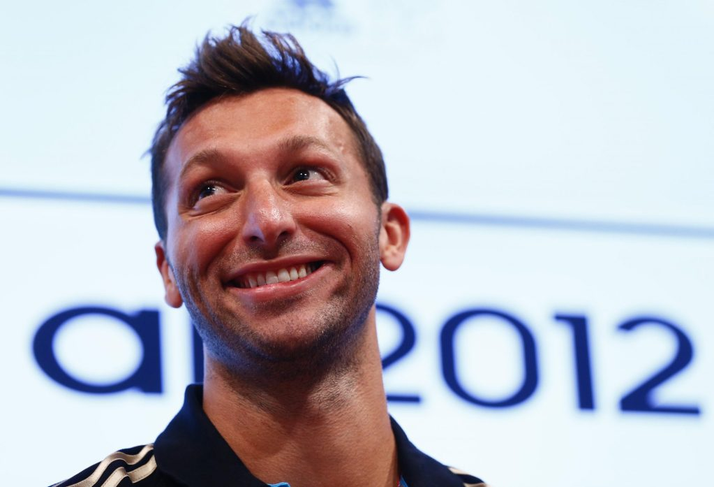 Jul 26, 2012; London, United Kingdom; Australian swimmer Ian Thorpe smiles during a press conference one day before the London 2012 Olympic Games at Westfield Shopping Centre. Mandatory Credit: Rob Schumacher-USA TODAY Sports