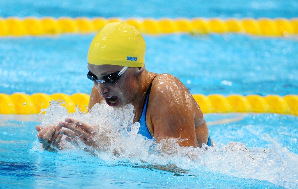 Jul 29, 2012; London, United Kingdom; Jennie Johansson (SWE) competes during the women's 100m breaststroke semifinals during the London 2012 Olympic Games at Aquatics Centre. Mandatory Credit: Kyle Terada-USA TODAY Sports