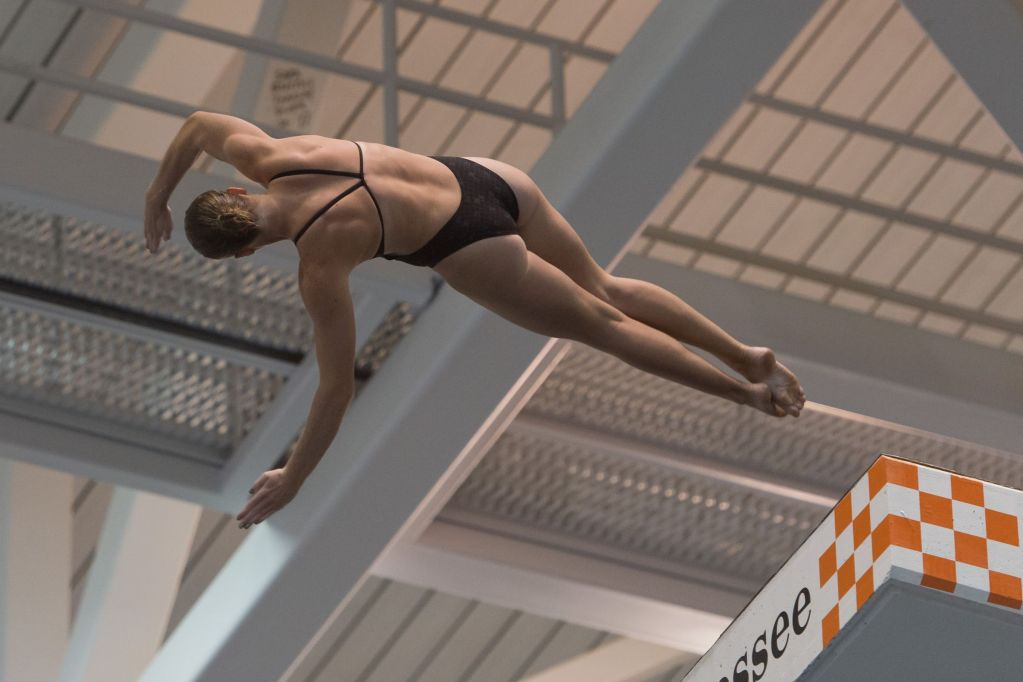 KNOXVILLE, TN - August 16, 2014: Amy Cozad during the 2014 USA Senior Diving National Event at Allan Jones Aquatic Center in Knoxville, TN. Photo By Matthew S. DeMaria