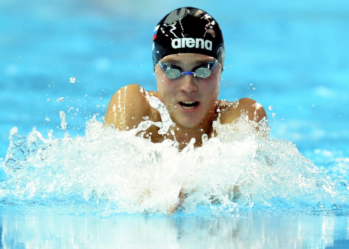 (140818) -- Nanjing, Aug 18,2014 (Xinhua) -- Anton Chupkov of Russian Federation competes in the final of Men's 100m Breaststroke of Nanjing 2014 Youth Olympic Games in Nanjing, capital of east China?s Jiangsu Province, on August 18, 2014. Anton Chupkov won the gold medal. (Xinhua/Zhao Peng) (lyq)