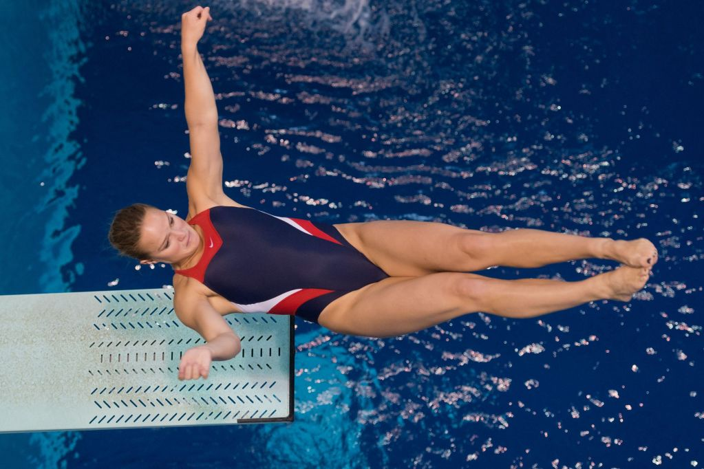 KNOXVILLE, TN - August 17, 2014: Laura Ryan during the 2014 USA Senior Diving National Event Finals at Allan Jones Aquatic Center in Knoxville, TN. Photo By Matthew S. DeMaria