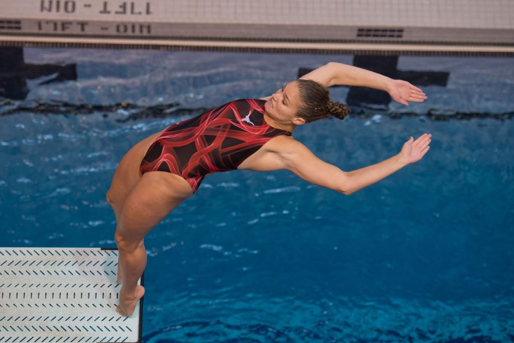 KNOXVILLE, TN - August 17, 2014: Maren Taylor during the 2014 USA Senior Diving National Event Finals at Allan Jones Aquatic Center in Knoxville, TN. Photo By Matthew S. DeMaria