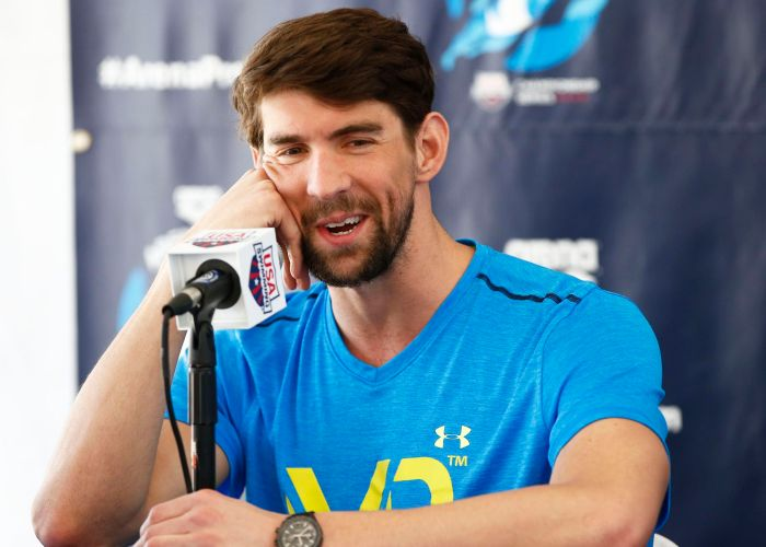 Apr 15, 2015; Mesa, AZ, USA; 18-time Olympic gold medalist Michael Phelps holds a press conference at the Arena Pro Swim Series at Skyline Aquatic Center in Mesa, AZ. Phelps, 29, returns from a six-month suspension by USA Swimming after his arrest Sept. 30 when he was accused of driving under the influence. Phelps pleaded guilty to that charge in December was sentenced to 18 months supervised probation in lieu of one year in prison. The probation includes random drug and alcohol testing. Phelps also completed a 45-day treatment program in Arizona. Mandatory Credit: Rob Schumacher/Arizona Republic via USA TODAY Sports