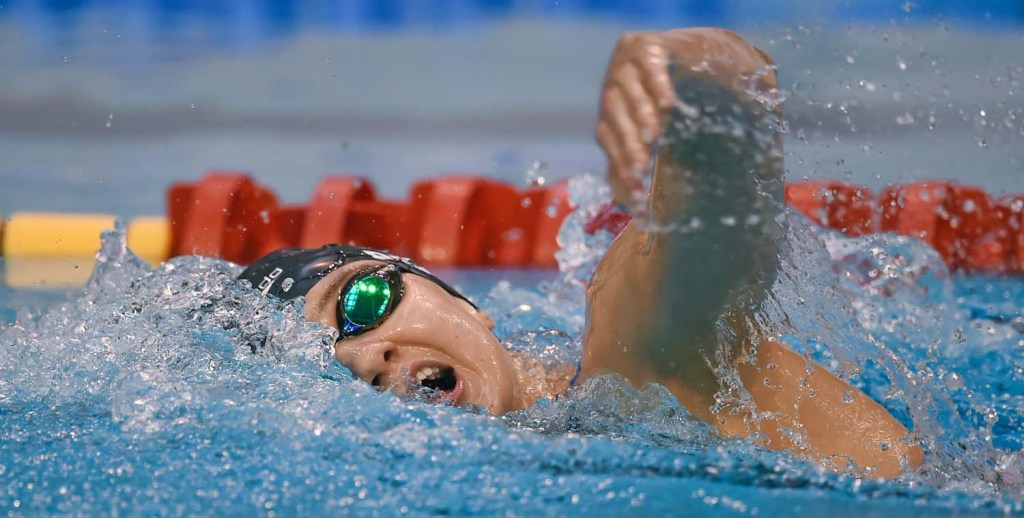 2 May 2015; Katherine Drabot, NCSA, competes in the 'B' final of the women's 400m freestyle event during the 2015 Irish Open Swimming Championships at the National Aquatic Centre, Abbotstown, Dublin. Picture credit: Stephen McCarthy / SPORTSFILE