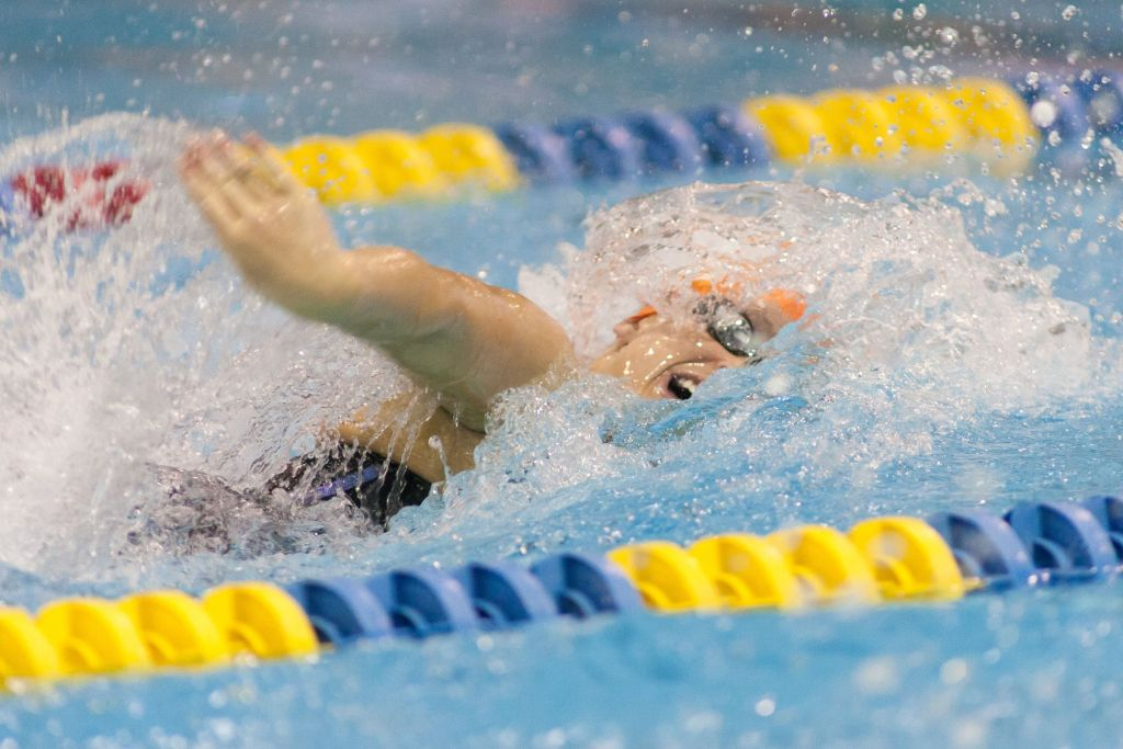 May 15, 2015; Charlotte, NC, USA; Leah Smith swims the 200 LC Meter Freestyle during the finals at the Mecklenburg County Aquatic Center. Mandatory Credit: Jeremy Brevard-USA TODAY Sports