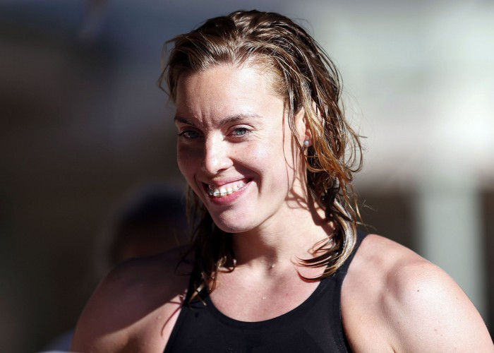 Jun 21, 2015; Santa Clara, CA, USA; Femke Heemskerk (NED) won the Women's 100M Freestyle in a time of 53.64 during the Championship Finals of day four at the George F. Haines International Swim Center. Mandatory Credit: Bob Stanton-USA TODAY Sports