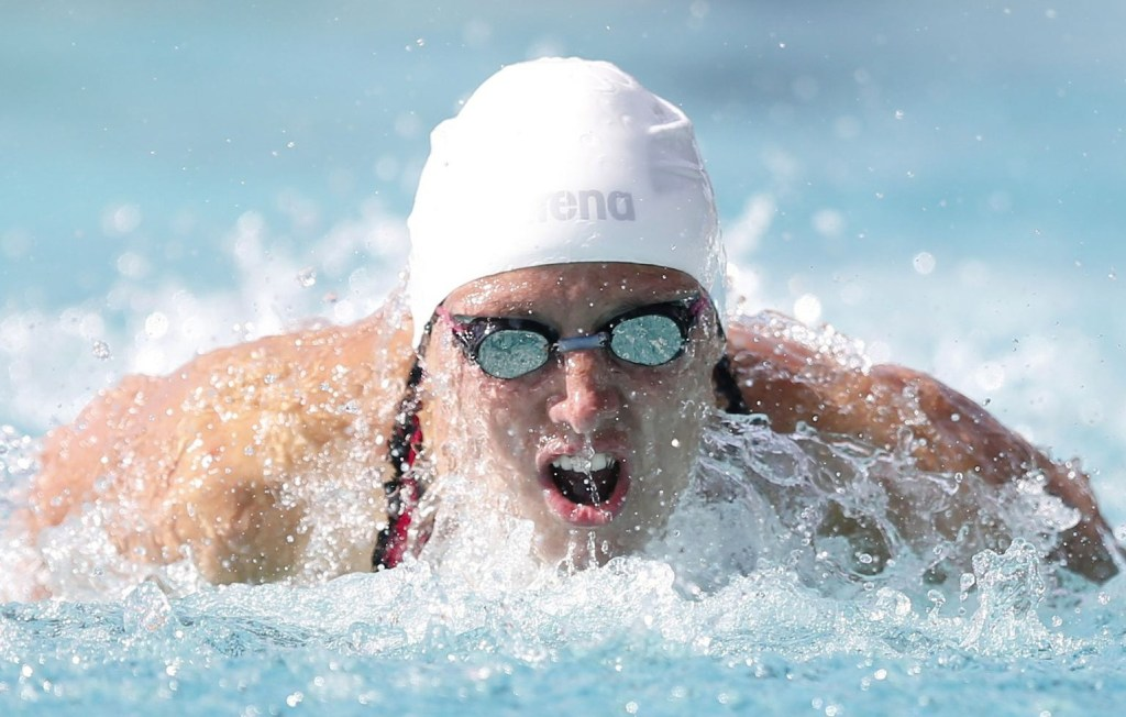 Jun 20, 2015; Santa Clara, CA, USA; Katink Hosszu (HUN) swims the final prelim of the Women 200M Butterfly during the morning session at the George F. Haines International Swim Center in Santa Clara, Calif. Mandatory Credit: Bob Stanton-USA TODAY Sports