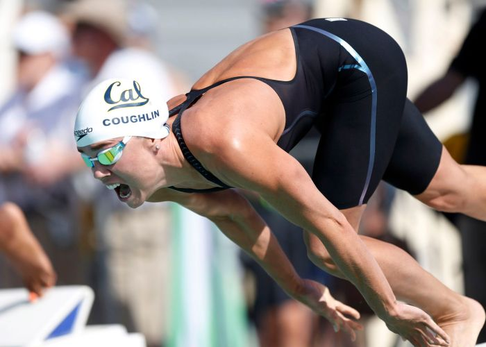Jun 20, 2015; Santa Clara, CA, USA; Natalie Coughlin (USA) starts of her prelim heat of the Women 50M Freestyle during the morning session of Day3 at the George F. Haines International Swim Center in Santa Clara, Calif. Mandatory Credit: Bob Stanton-USA TODAY Sports