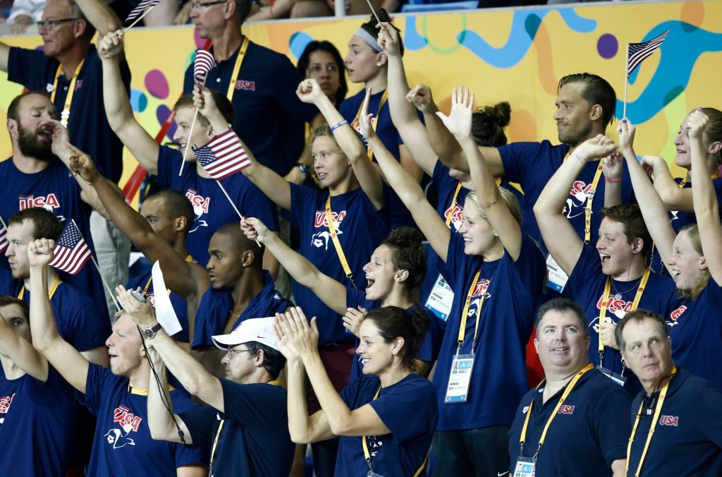 Jul 14, 2015; Toronto, Ontario, CAN; United States team members cheer during the women's 200m butterfly swimming preliminaries during the 2015 Pan Am Games at Pan Am Aquatics UTS Centre and Field House. Mandatory Credit: Rob Schumacher-USA TODAY Sports