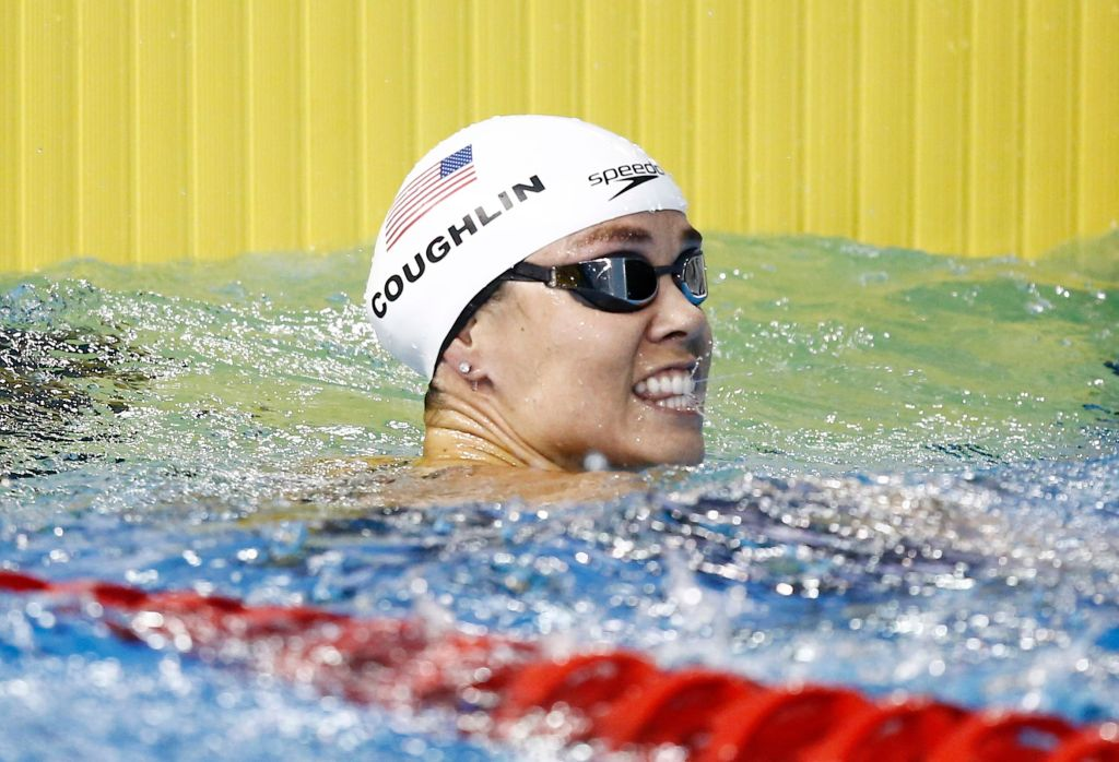 Jul 14, 2015; Toronto, Ontario, CAN; Natalie Coughlin of the United States reacts after winning a women's 100m freestyle swimming preliminary heat during the 2015 Pan Am Games at Pan Am Aquatics UTS Centre and Field House. Mandatory Credit: Rob Schumacher-USA TODAY Sports