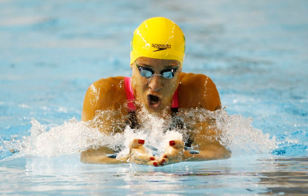 Jul 18, 2015; Toronto, Ontario, CAN; Joanna Maranhao of Brazil competes in the women's swimming 200m individual medley during the 2015 Pan Am Games at Pan Am Aquatics UTS Centre and Field House. Mandatory Credit: Rob Schumacher-USA TODAY Sports