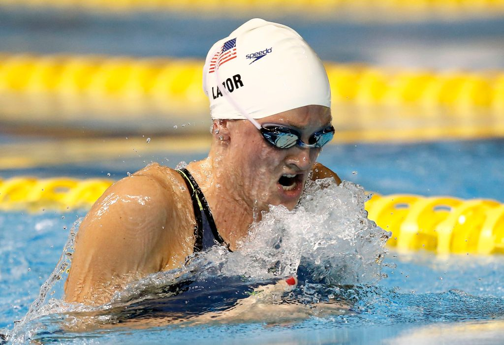Jul 15, 2015; Toronto, Ontario, CAN; Annie Lazor of the United States competes in the women's 200m breaststroke preliminary heat during the 2015 Pan Am Games at Pan Am Aquatics UTS Centre and Field House. Mandatory Credit: Rob Schumacher-USA TODAY Sports