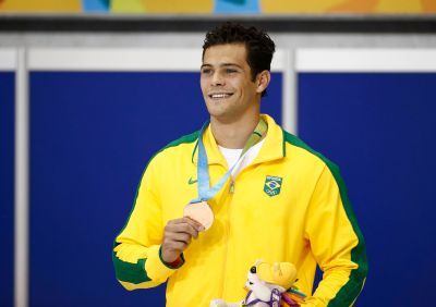 Jul 14, 2015; Toronto, Ontario, CAN; Marcelo Chierighini of Brazil reacts after placing third in the men's 100m freestyle swimming final during the 2015 Pan Am Games at Pan Am Aquatics UTS Centre and Field House. Mandatory Credit: Rob Schumacher-USA TODAY Sports