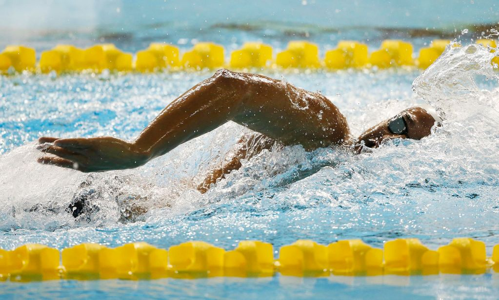 Jul 15, 2015; Toronto, Ontario, CAN; Luiz Melo of Brazil in the men's 4x200 freestyle relay preliminary heat during the 2015 Pan Am Games at Pan Am Aquatics UTS Centre and Field House. Mandatory Credit: Erich Schlegel-USA TODAY Sports
