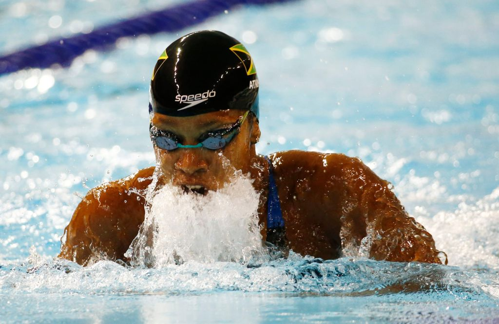 Jul 17, 2015; Toronto, Ontario, CAN; Alia Atkinson of Jamaica competes in the women's 100m breaststroke final the 2015 Pan Am Games at Pan Am Aquatics UTS Centre and Field House. Mandatory Credit: Rob Schumacher-USA TODAY Sports