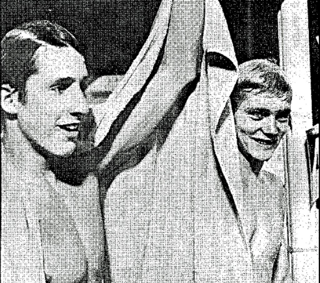 Rick DeMont and Brad Cooper at 1973 worlds