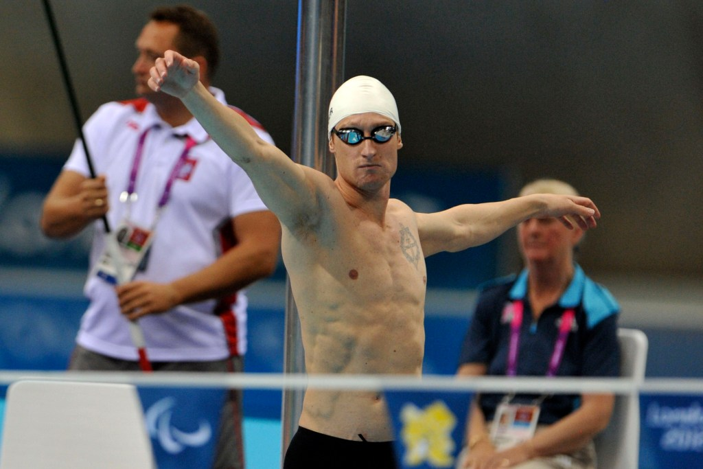 Sep 2, 2012; London, United Kingdom; Bradley Snyder (USA) warms up prior to the second heat of the men's 100m backstroke - S11 during the London 2012 Paralympic Games at Aquatics Centre. Mandatory Credit: Andrew Fielding-USA TODAY Sports