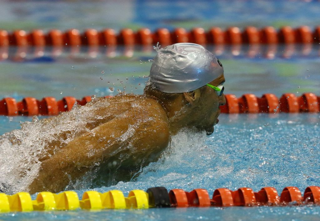 DURBAN, SOUTH AFRICA - APRIL 12: Chad le Clos wins the semi finals 200m butterfly for men during the finals session on day 1 of the SA National Aquatic Championships and Olympic Trials on April 12 , 2016 at the Kings Park Aquatic Center pool in Durban, South Africa. Photo Credit / Anesh Debiky/Swim SA