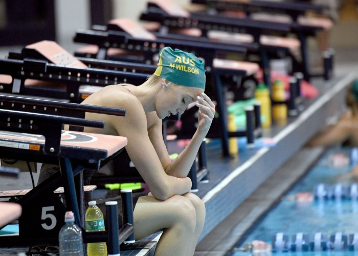 Madi Wilson showing the strain of another hard set of training. University of Auburn Aquatic Centre, Alabama USA. Australian Olympic Swimming Team are in their final training staging Camp before heading over to the Rio2016 Olympic Games. July 29 2016. Photo by Delly Carr. Pic credit mandatory for complimentary exclusive editorial usage. Thank You.