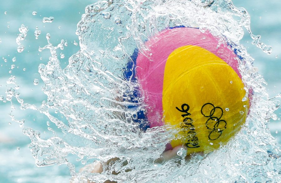 Aug 11, 2016; Rio de Janeiro, Brazil; General view of the ball during the women's preliminary round game between the United States and the China in the Rio 2016 Summer Olympic Games at Maria Lenk Aquatics Centre. Mandatory Credit: Andrew P. Scott