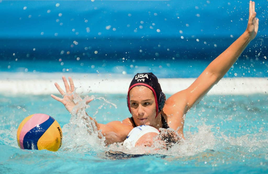 epa06091016 Rachel Fattal (rear) of the US challenges Carly Joy Faulmann of South Africa for the ball during the women's water polo Group B first round match between South Africa and the USA of the FINA Swimming World Championships 2017 in Budapest, Hungary, 16 July 2017. EPA/SZILARD KOSZTICSAK HUNGARY OUT