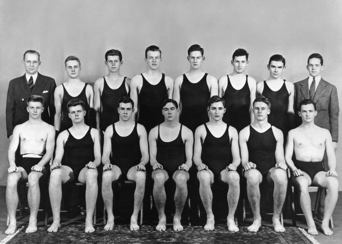 PC16 c. 1936-1937 Harvard swim team photo, John F. Kennedy is third from left in back row, c. 1936-1937. Photographer unknown in the John F. Kennedy Presidential Library and Museum, Boston.